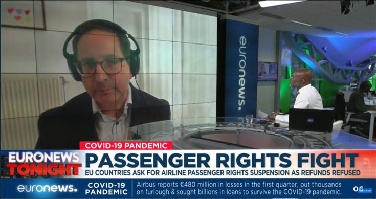 Mark Watts live on Euronews to defend air passengers rights law he helped craft